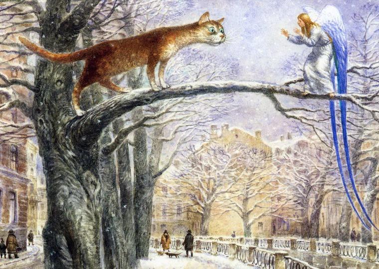 Ангел с котом на дереве