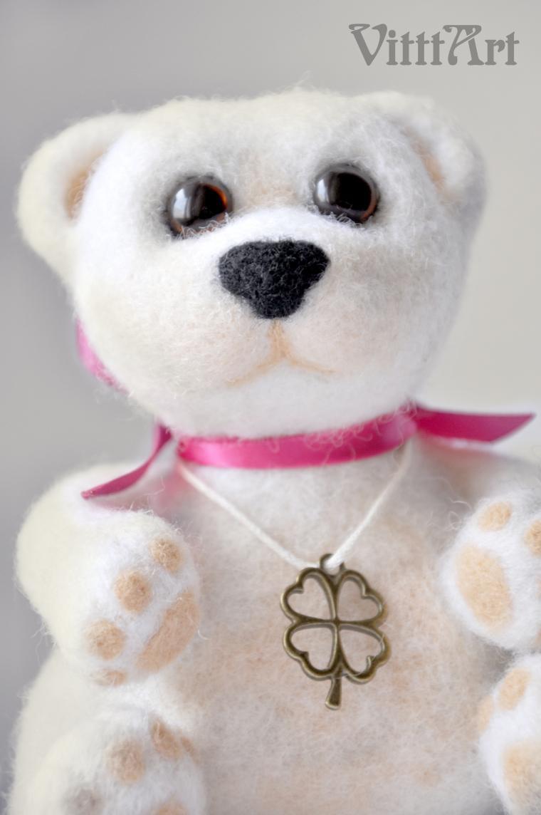 войлочная игрушка, игрушка в подарок, медвежонок