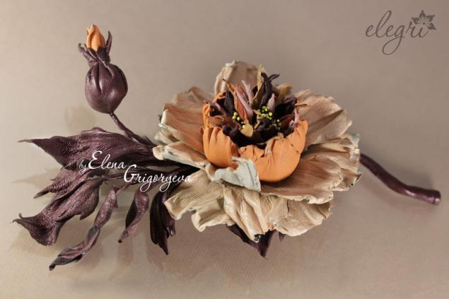 цветок из кожи, обучение флористике