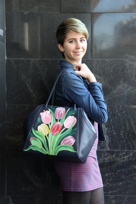сумка ручной работы, синий, весна, подарок