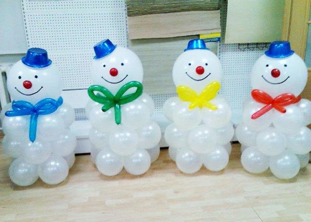 Как сделать снеговика из шаров и бумаги