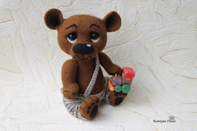 медвежонок, валяная игрушка