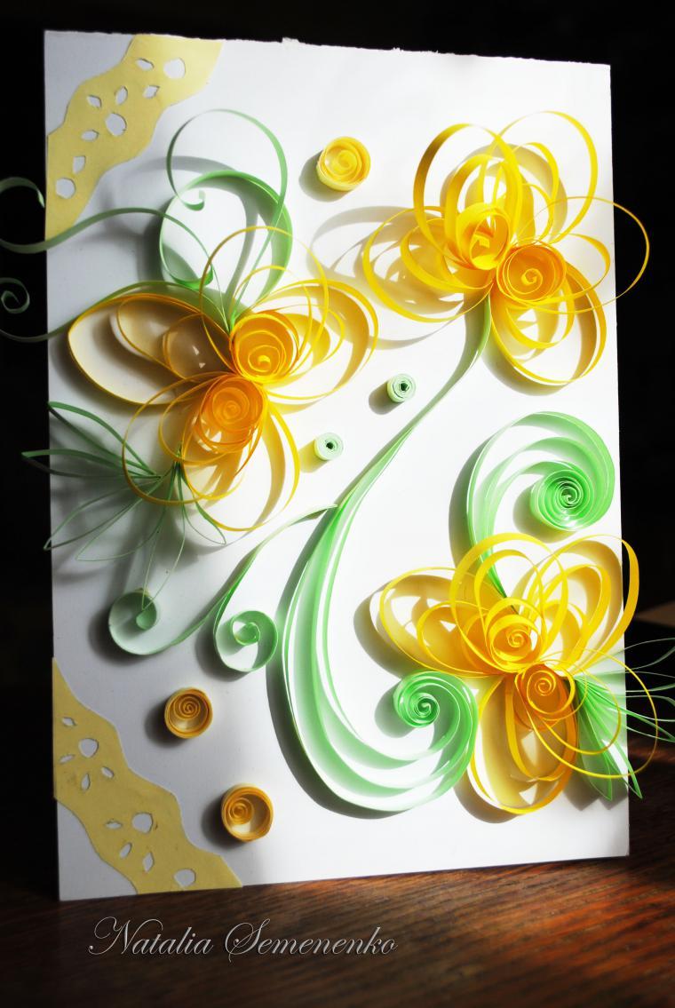 весна, открытки ручной работы, открытка своими руками, цветы ручной работы, голубой, фиолетовый, вдохновение