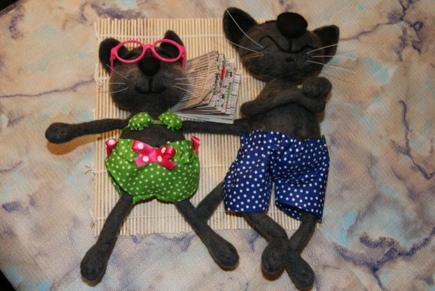 кот на пляже, игрушки, интерьер, коты, валяный кот, коты и кошки, скидка 10%, новый год