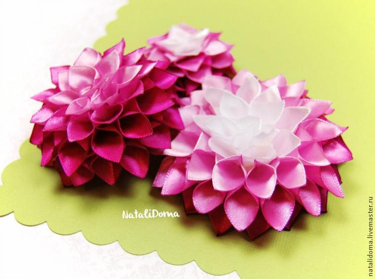 Цветы из лент шириной 2.5 см