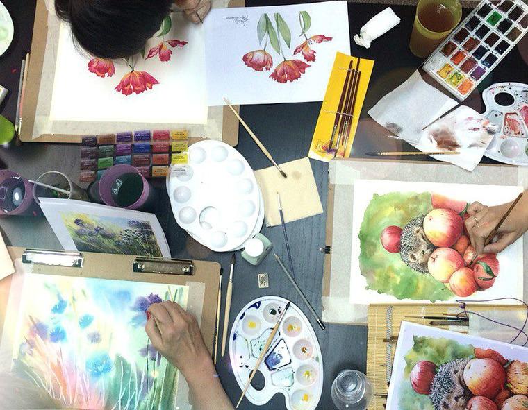 мастер-класс акварель, учусь рисовать, обучение рисованию, картина в подарок