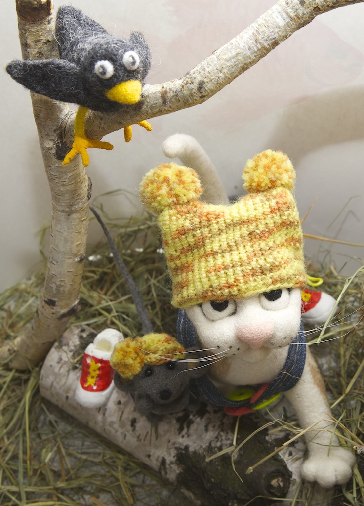 мастер-класс по валянию, котенок