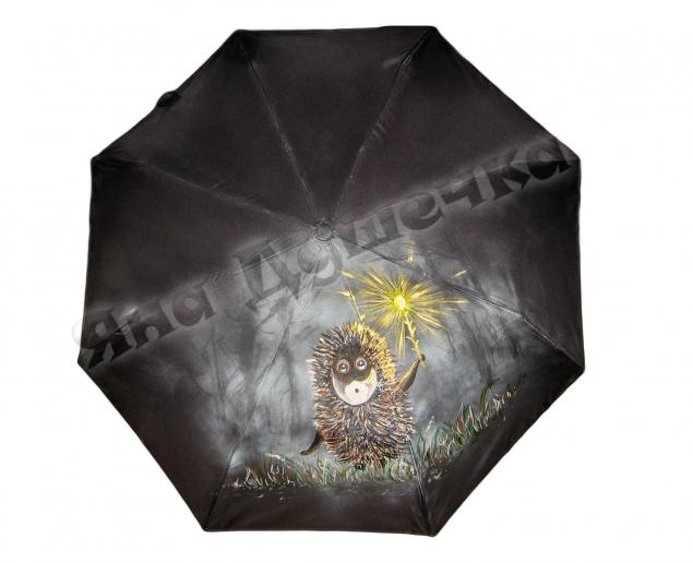 ежик, зонтик, зонт с рисунком, роспись по ткани, зонтик с рисунком, женский зонт