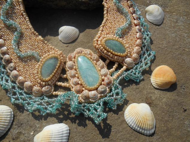 бисерное колье, море, амазонит