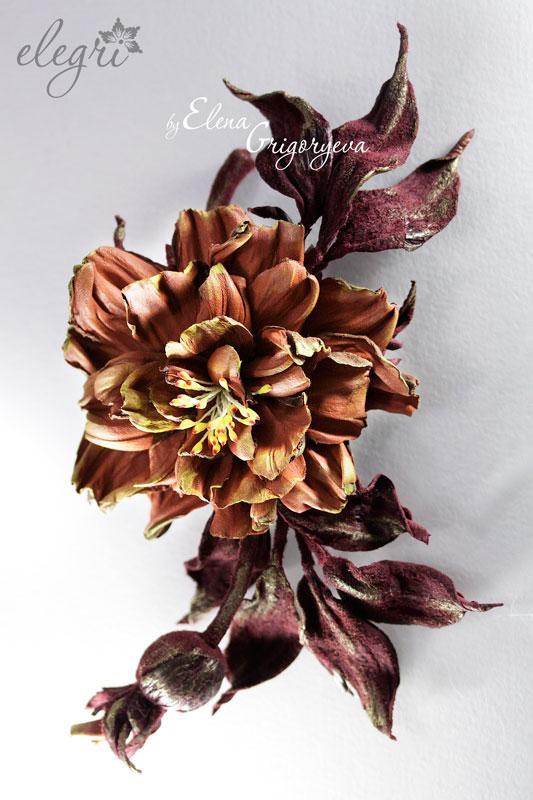 обучение цветы, авторские цветы, цветы своими руками, обучение розы, обучение роза с бутоном, кожаные цветы, елена григорьева цветы, заказать розу, заказать брошь-розу, коричневый цветок