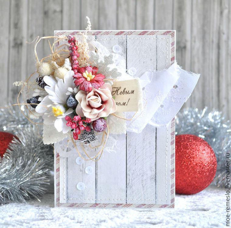 открытка, открытки ручной работы, новый год, новый год 2015, букет, цветы, зима, природные материалы, сухоцветы, ягоды, шишки, купить подарок, сувениры и подарки