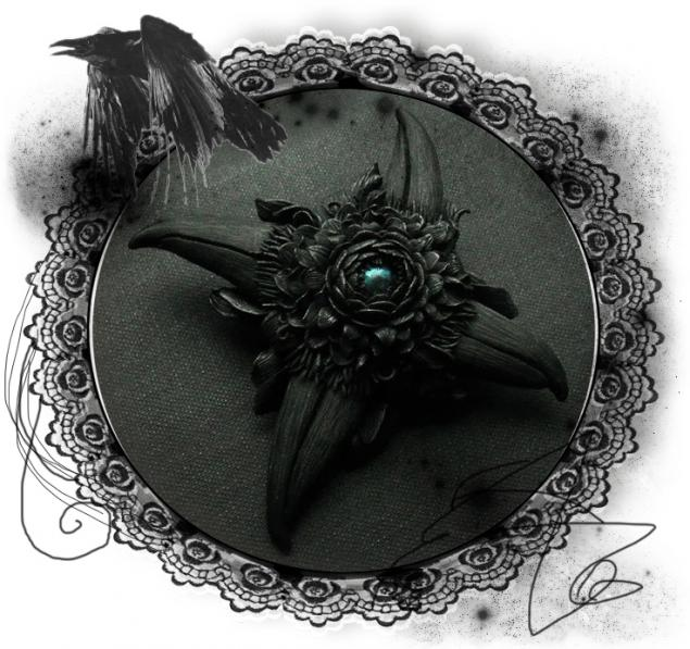 аукцион, готическая брошь, ravenswood, брошь цветок, ворон, день святого валентина, любовь, тайна