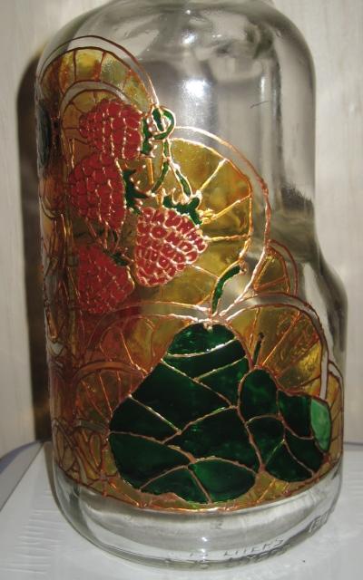 роспись по стеклу, обжиг, бутылка