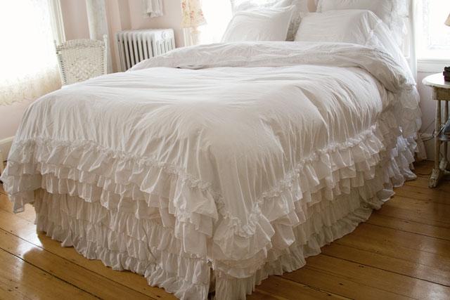 white ruffle bedding