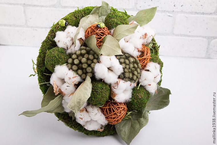 Make Decorative Bouquet Of Cotton And Dried Flowers, фото № 17