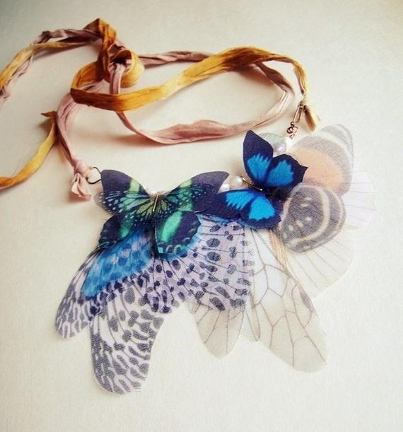Fluttery бабочки ожерелье, шелк и органза
