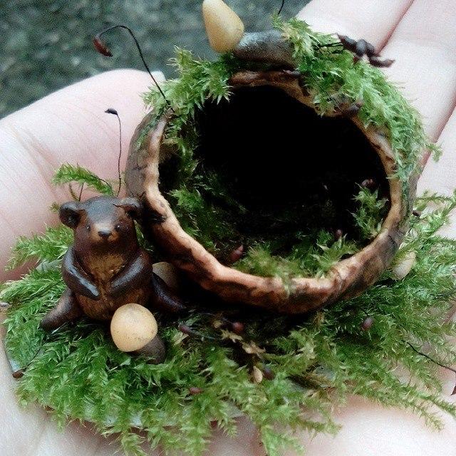 композиция, мох, мини, природные материалы