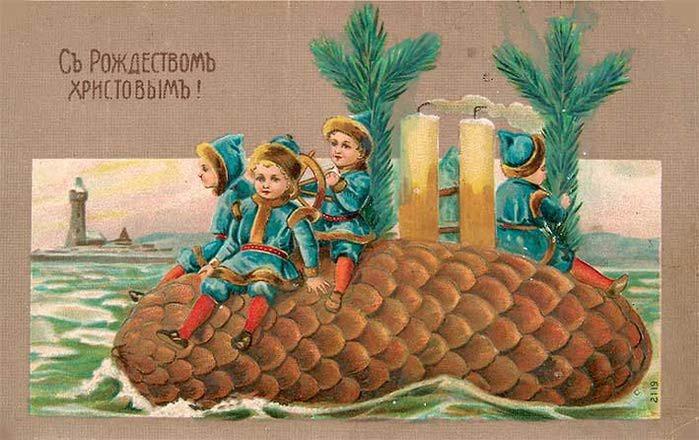 Старинные рождественские открытки: 35 трогательных изображений, фото № 31
