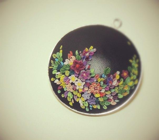 полимерная глина, цветы