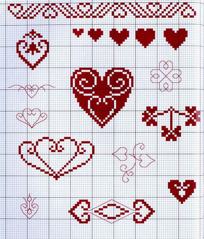 Как вышивать сердце на открытке, рисунки анимационные