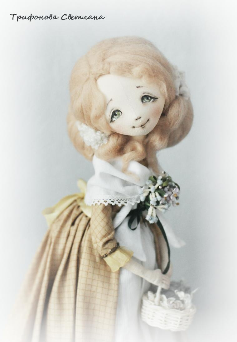 текстильная кукла, роспись лица