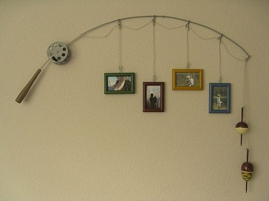 I love this idea for my husbands office....and would be great for a man cave too.  Very creative!.....Fishing Pole Picture Frame @ DIY Home Ideas