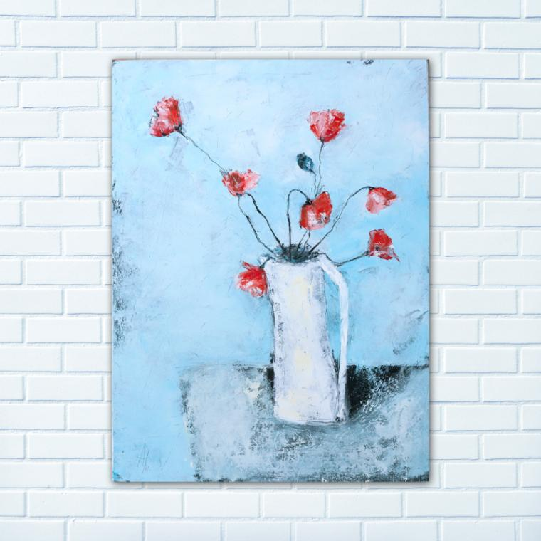новинка, картина, живопись, масло, натюрморт, маки, цветы
