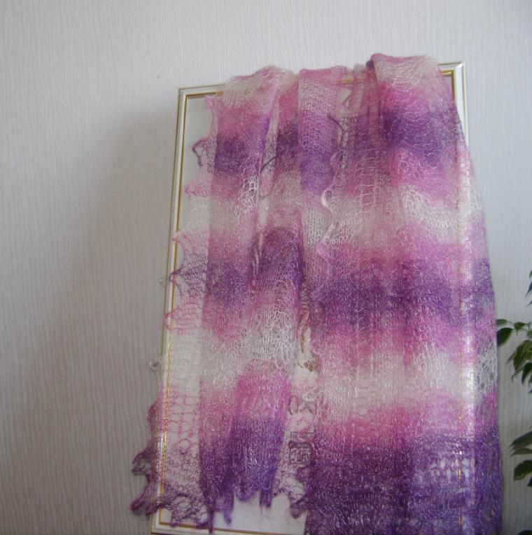 палантин, шаль, фиолетовый, весенний