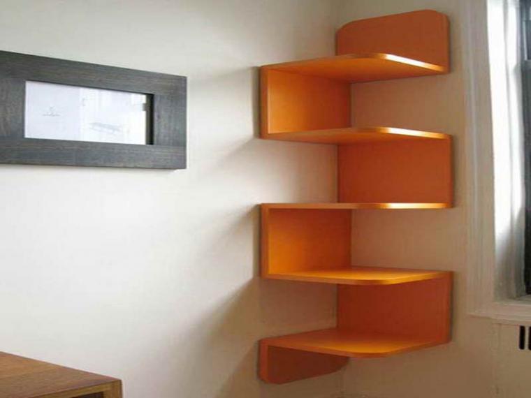 Дизайн угловых полок на стену
