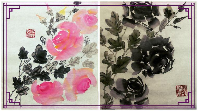 рисунок розы, майская роза