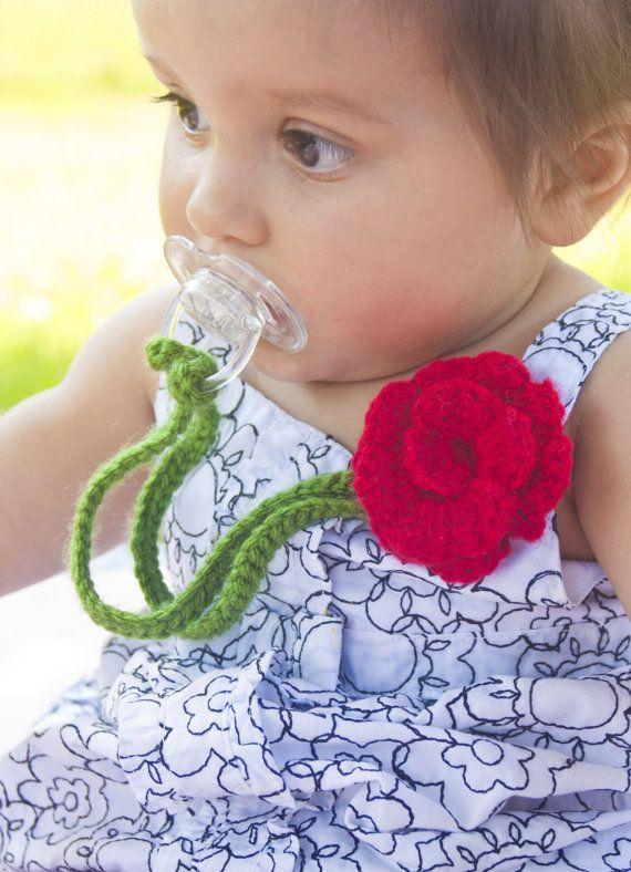Girl Pacifier Clip, Crochet Flower Pacifier Clip, Baby Red Flower Pacifier Holder, pccrochet02 on Etsy, .50