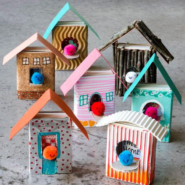 Как сделать дома из спичечных коробков