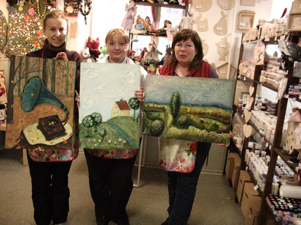 мастер-класс по живописи, картины акрилом