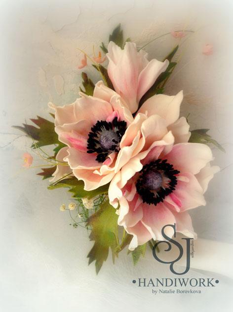 цветы из фоамирана, анемоны из фоамирана, обучение, мастер-классы, цветоделие