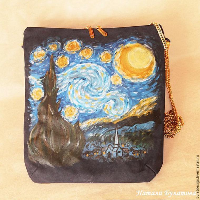 Рисуем на кожаной сумке