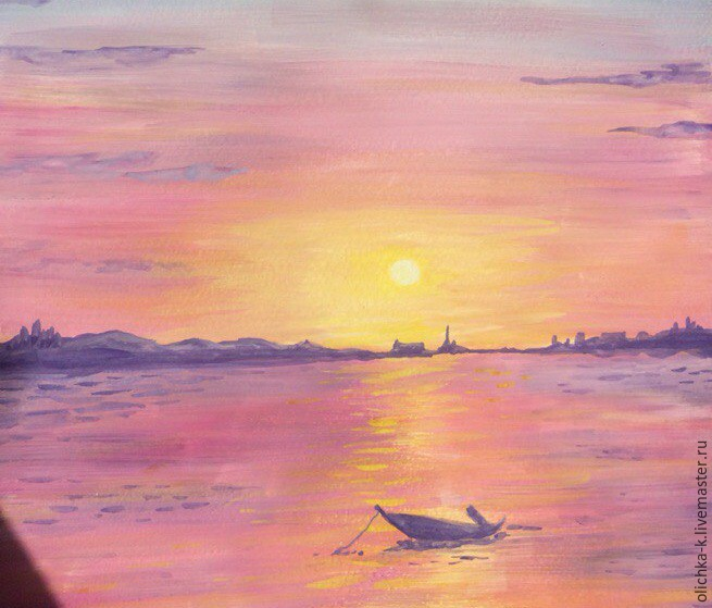 How to Paint a Sea Sunset with Gouache, фото № 6