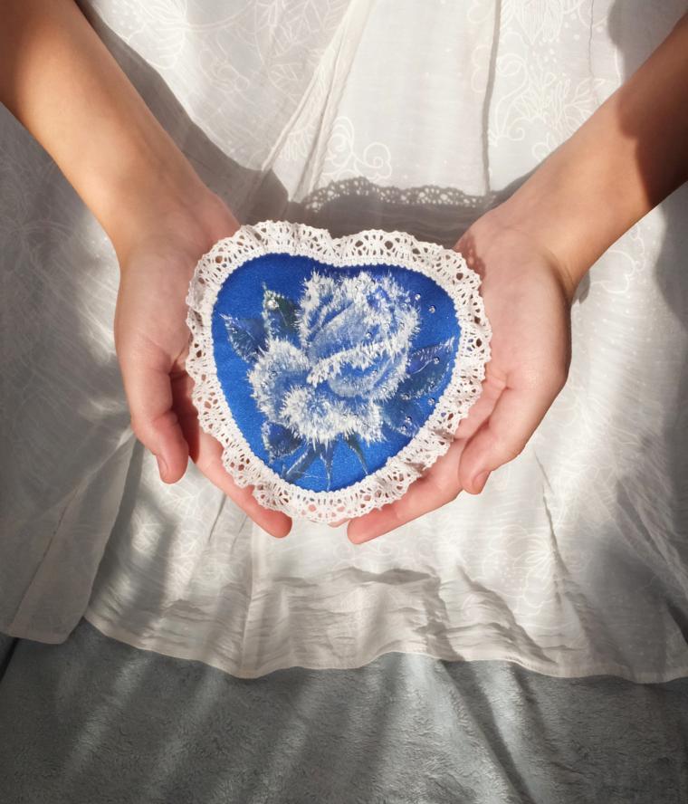 новая работа, шкатулка для украшений, зимняя роза, новогодние сувениры