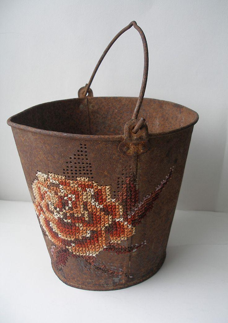 Lithuatian artist Severija Inirauskait-Kriauneviien embroiders metal objects.