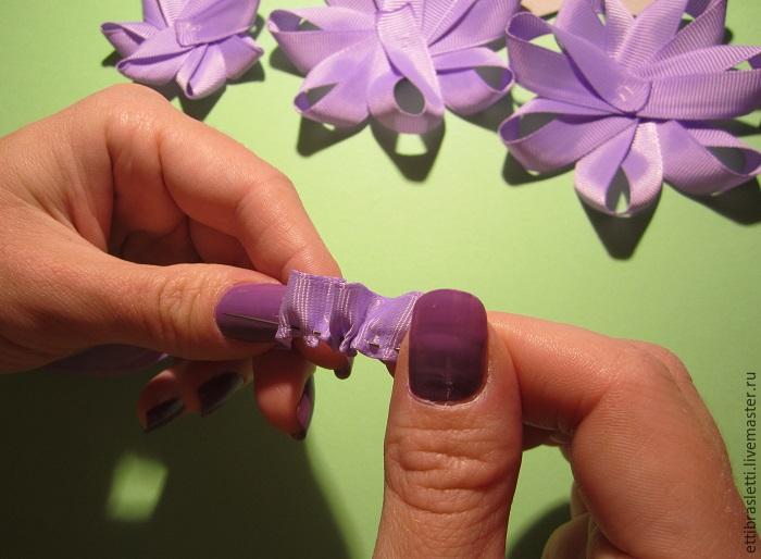 Собираем простой цветочек из ленты, фото № 14