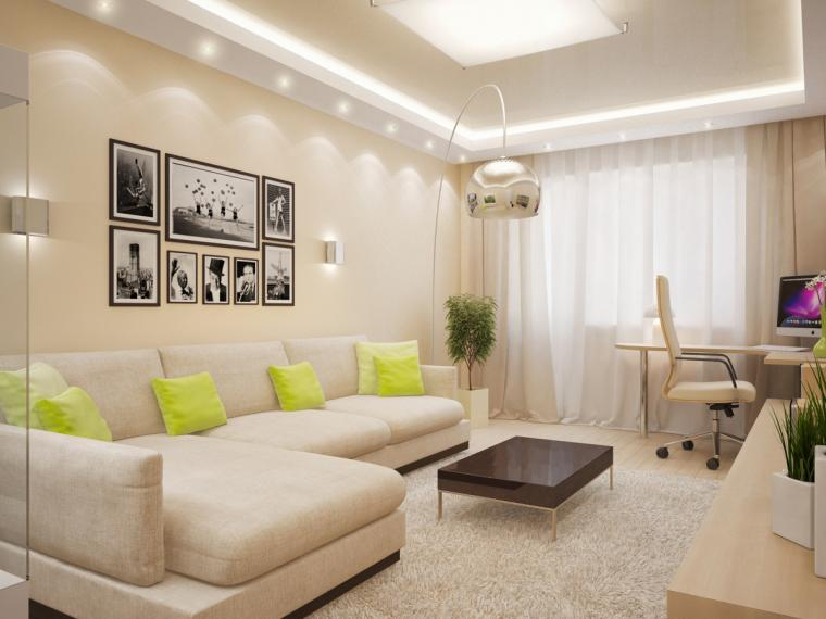 Интерьер зала с бежевыми обоями фото
