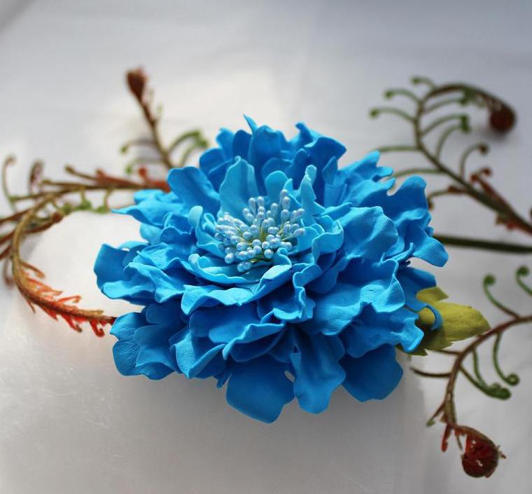 Синие цветы из фома