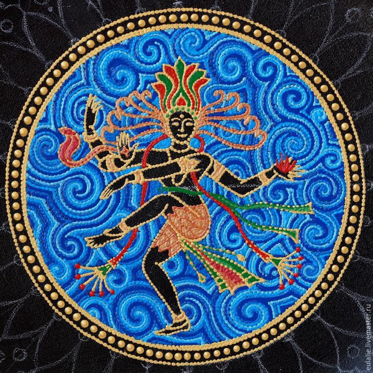 Мастер-класс по точечной росписи: тарелка-панно «танцующий Шива», фото № 10