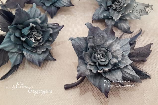 авторские цветы, брошь кожаная, кожаный цветок