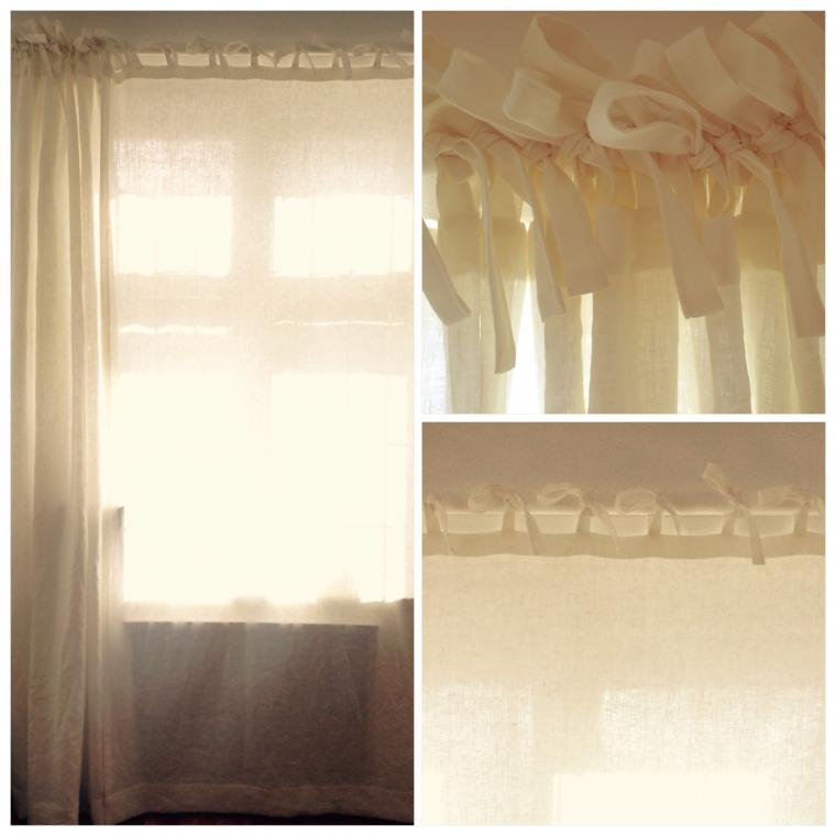 шторы изо льна, льняные шторы, шторы на завязках