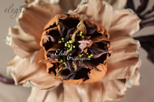 авторские цветы, старо-английская роза, handmade, кожаный цветок