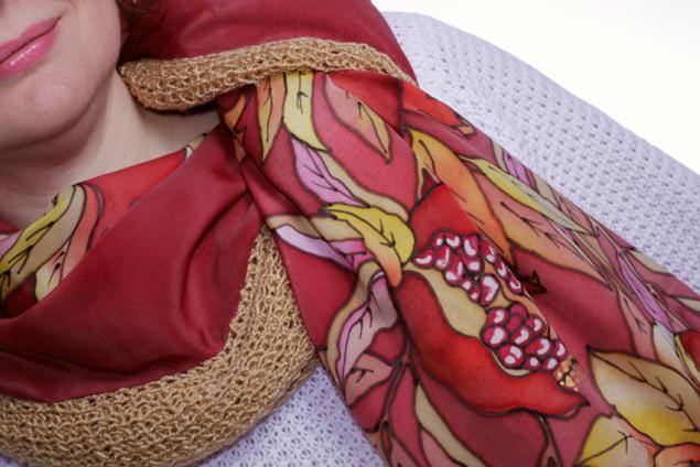 шелковый шарф, теплый шарф, шерстяной шарф, оригинальный подарок