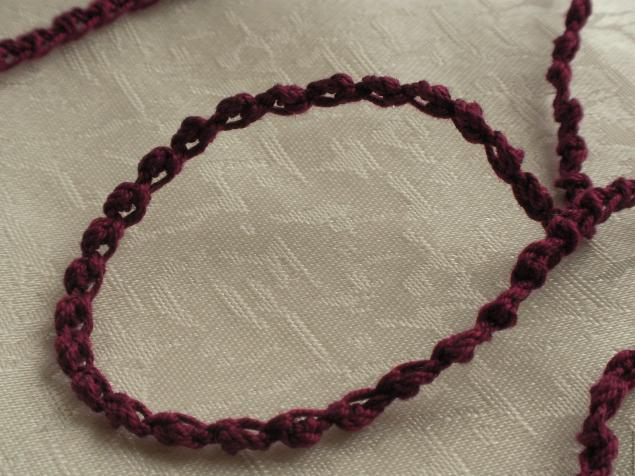 шнур вязаный, вязание крючком