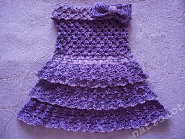 вязаное платье, вязаное детское платье, сарафан, вязаный детский сарафан, красивое платье, рюши, платье из хлопка, для детей