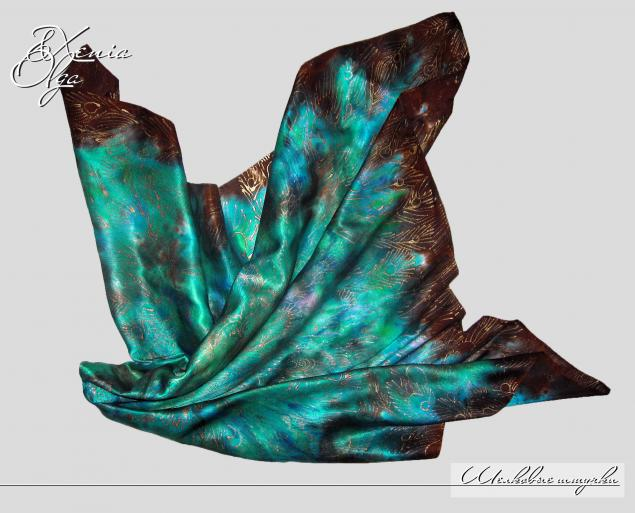 14 февраля, платок, подарок девушке, платок золотистый