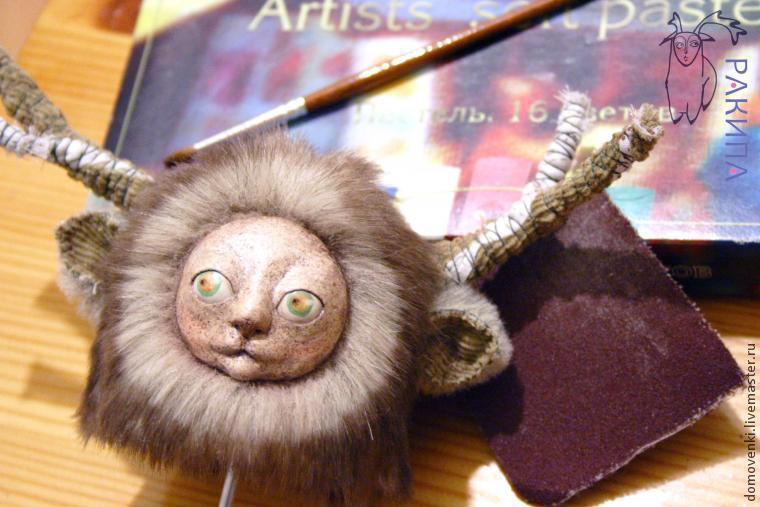 лепка морды, текстильная кукла